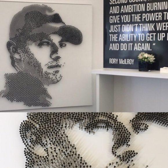 Rory McElroy golf tee portrait by David Turner and Brendan Jamison Studios