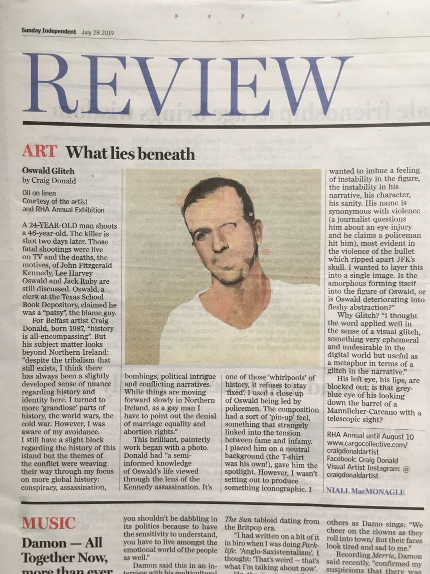Painting by QSS artist Craig Donald featured in The Sunday Independent